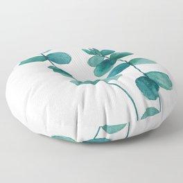 green eucalyptus watercolor Floor Pillow