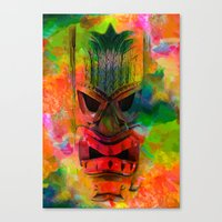 karu kara Canvas Prints featuring Tiki Kara by Ionic Slasher