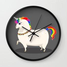 Fat and perfect unicorn Wall Clock