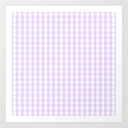 Chalky Pale Lilac Pastel and White Gingham Check Plaid Art Print