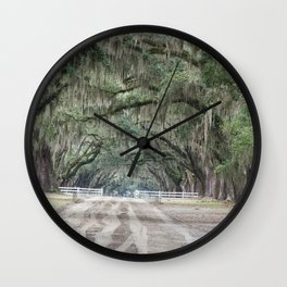 Tree Canopy over a Dirt Road Wall Clock