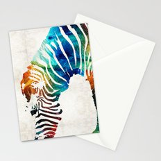 Colorful Zebra Art by Sharon Cummings Stationery Cards