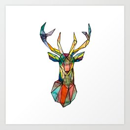 Colorful deer geometrical Art Print