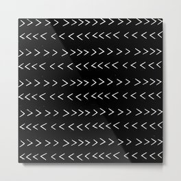 mudcloth 14 minimal textured black and white pattern home decor minimalist beach Metal Print