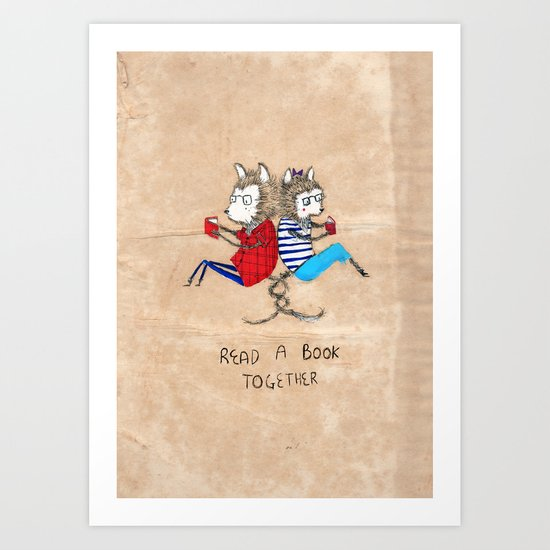 Read a book together Art Print