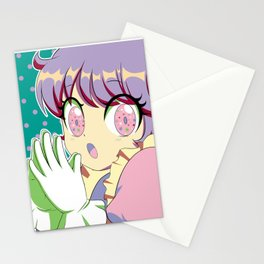 Kawaii magical girl// Mint green pattern pink spots Stationery Cards
