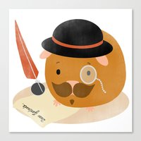 guinea pig Canvas Prints featuring Guinea Pig Portrait 2 by NdKf