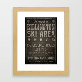 Killington Mountain Ski Area Sign Vermont Framed Art Print
