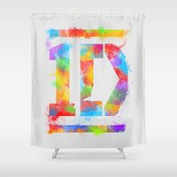 1d Shower Curtains featuring 1D One Direction Watercolor by dan ron eli