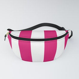 Bright Pink Peacock and White Wide Vertical Cabana Tent Stripe Fanny Pack
