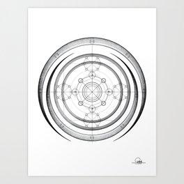Black and white aztec sacred geometry art Art Print