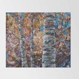 Birch Trees (palette knife) Throw Blanket