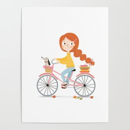 Bicycle Reading with Dachshund Poster