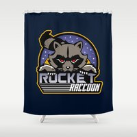 rocket raccoon Shower Curtains featuring Rocket Raccoon logo by Buby87