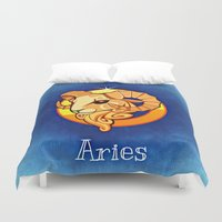 aries Duvet Covers featuring aries by Mariedesignz