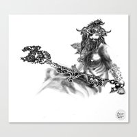 outlander Canvas Prints featuring Outlander Warrior Sketch [Digital Figure Illustration] by Grant Wilson