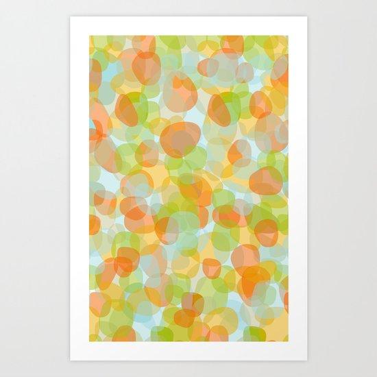 Pebbles Orange Art Print