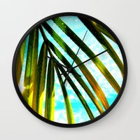palm tree Wall Clocks featuring Palm by Stephanie Stonato