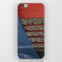 Gondola seat under the rain Venice red and blue Italy iPhone Skin