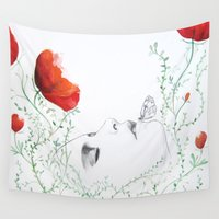 poppies Wall Tapestries featuring Poppies by Christine Lindstrom