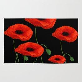 BLACK ART DECO RED POPPIES DESIGN Rug