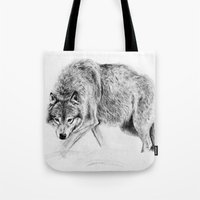 wolf Tote Bags featuring Wolf by Anna Shell