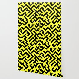 Black and Electric Yellow Diagonal Labyrinth Wallpaper