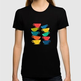A Teetering Tower Of Colorful Tea Cups T-shirt
