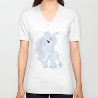 the last unicorn V-neck T-shirts featuring The Last Unicorn by Cosmic Lab Creations