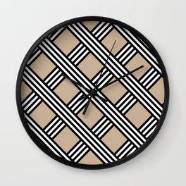 Pantone Hazelnut, Black & White Diagonal Stripes Lattice Pattern Wall Clock
