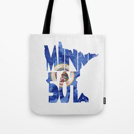 Minnesota Typographic Flag Map Art Tote Bag
