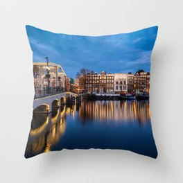 The skinny bridge in Amsterdam by night Throw Pillow