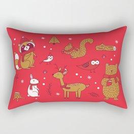 Winter Woodlands - Red Rectangular Pillow