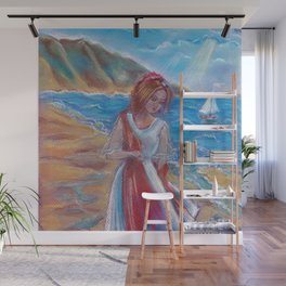 Assol - the girl on the Bay in the background sailing ship. Good pastel drawing for interior design. Wall Mural