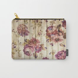 Rustic Vintage Country Floral Wood Romantic Carry-All Pouch
