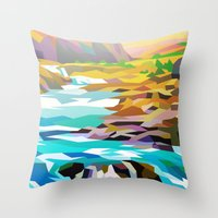river Throw Pillows featuring River by Liam Brazier