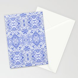 Greek Baroque, White Bohemian Arabesque Pattern, Ultramarine Azure Stationery Cards