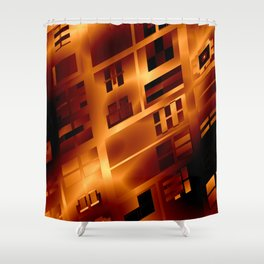 Abstract 379 Orange Geometric Windows Shower Curtain