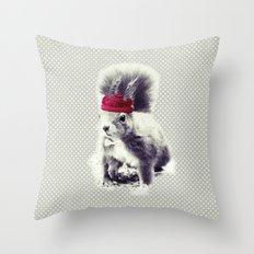 Squirrel & Bow Throw Pillow
