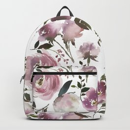 Modern hand painted ivory purple pink watercolor roses Backpack