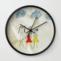 sisters Wall Clocks featuring Sisters?  by Ethna Gillespie