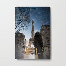 Eiffle Reflections Metal Print
