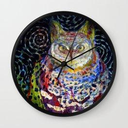 Owl Under a Starry Night Wall Clock