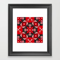 Vampire Bat Face Geometric Pattern Framed Art Print