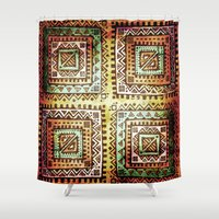 quilt Shower Curtains featuring Ancient Quilt by Robin Curtiss