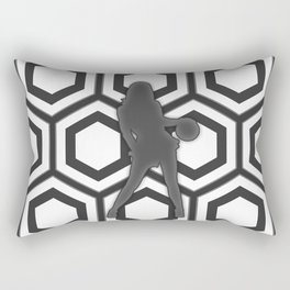 Basketball Player in Black and White Rectangular Pillow