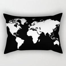 Black white world map Rectangular Pillow