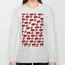 Hand painted red green strawberries lips pattern Long Sleeve T-shirt