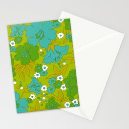 Green, Turquoise, and White Retro Flower Design Pattern Stationery Cards
