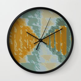 drawing and painting art symmetry in green and brown Wall Clock